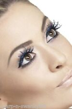 Ladies Black Blue Glittery Spiderweb Halloween Fake Eyelashes Hen Do Fancy Dress