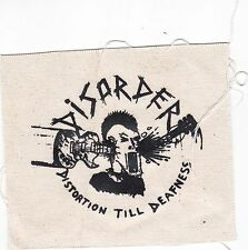 """DISORDER PUNK PATCH """"distortion til deafness"""". size 6"""" X 6"""". Merchandise from UK"""