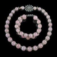 VINTAGE FRENCH SILVER ROSE QUARTZ BEADED NECKLACE AND BRACELET SET CIRCA 1940