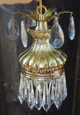 1of3 Vintage Hanging Baby Swag ROCOCO Tole spelter lamp Chandelier crystal prism