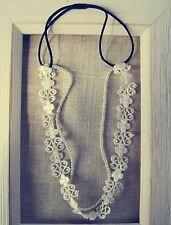 Women White BOHO Lace flower pearl Beach wedding Bridal Beach Hair Headband Prop