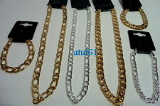 Men's Thick Gold/Silver Plated Cuban Link Chain Chunky Curb Hip Hop Necklace NEW