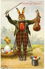 POSTCARD THIELE EASTER RABBIT WITH VIOLIN 1912 T.S.N. SERIES 1157