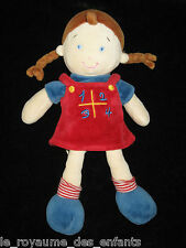 Doudou poupée fille rouge rayé et bleu robe 1234 marin tresses Mots d'Enfants