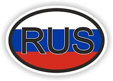OVAL FLAG WITH RUS RUSSIA COUNTRY CODE STICKER CAR MOTOCYCLE AUTO TRUCK