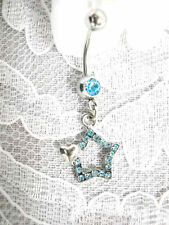 BABY BLUE STAR & TINY HEART w CUBIC ZIRCONIA BELLY RING