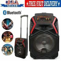 "8"" Portable Trolley Bluetooth Subwoofer Speaker W/ Light USB TF BT SD Remote USA"
