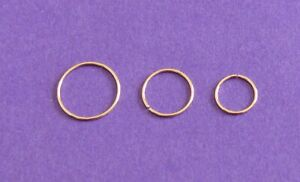 GENUINE 9 CARAT GOLD SEAMLESS RING NOSE EAR LIP HOOP RING  10, 8 OR 6 MM X 0.6MM