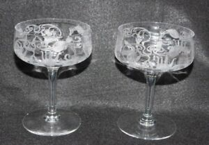 """2 Fushia Cambridge Marjorie Crystal Etched Sherbet Stems champagne coupe 4 5/8"""""""