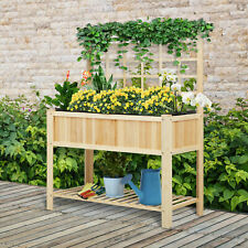 """47"""" x 23"""" x 35"""" Wood Elevated Planter Box w/ Spacious Growing Area for Veggies"""