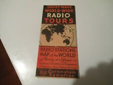 Antique Short-Wave World-Wide Radio Tours Stations Map 1933 Original RCA