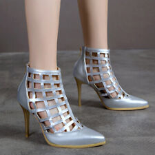 Women's Gladiator Sandals Net Pointed Toe Stiletto High Heel Party Pumps Shoes