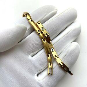 """Nikken Magnetic Gold Plated Bracelet Articulated 7.5"""""""