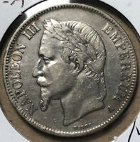 1867-A France 5 Francs Silver Coin VF/XF Condition