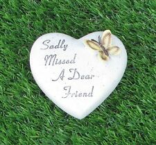 MEMORIAL BUTTERFLY HEART GRAVE SIDE OR CEMETERY ORNAMENT FOR FRIEND