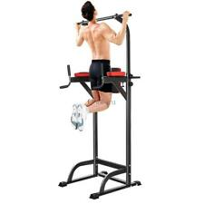 Free Standing Pull Up Bar Stand Alone Dip Station Ab Machine Power Tower Gym CU