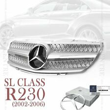 MERCEDES BENZ SL CLASS FRONT GRILL GRILLE R230 SL500 SL600 SILVER 2002-2006 AMG