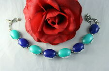 "Vintage Blue & Teal Thermoset Silver tone 18"" Necklace Cat Rescue"