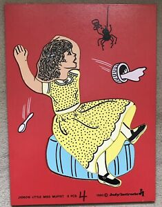Miss Muffet Puzzle 1980 Judy Instructo Wooden Puzzle 8 Piece Little Miss Muffet