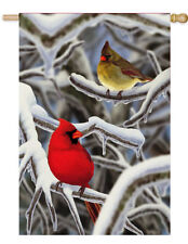 "MORNING SNOW Cardinals Cold Winter Day 29"" x 43"" Large Decorative Banner Flag"