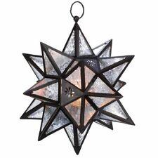 Hanging Moroccan Star Tealight Candle Lantern Decorative Bronze Glass NIB