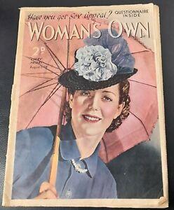 Vintage Woman`s Own magazine Aug 5th 1939 Ian Thomson Olwen Joergens Berta Ruck
