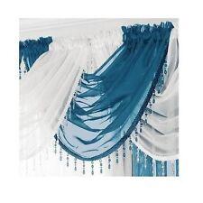 Ready Made Voile Swag X1 Drape Pelmet Curtain Crystal Beaded Trim Swags 56x45cm Teal