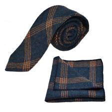 Denim Blue & Orange Birdseye Check Tie & Pocket Square / Handkerchief Set