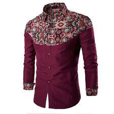 Pop Men Casual T Shirts Printed Long Sleeve Slim Fit Cotton Dress Shirt Tops