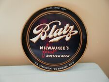 Vintage Blatz Advertising Tray - Milwaukee's First Bottled Beer blue metal tray
