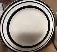 "KATE SPADE -All in Good Taste -Sculpted Stripe Black- Accent Plates 8.75"" Set/4"
