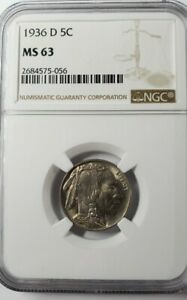 1936-D Buffalo Nickel 5c NGC MS63