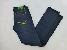WOMENS AKADEMIKS STRAIGHT LEG JEANS COLORFUL STITCHING SIZE 29x34.5 #W535