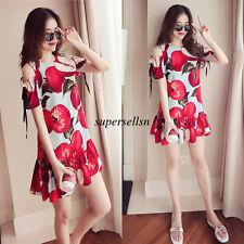 Summer Korean Women Off Shoulder Loose Slim Tunic A Line Casual Short Dress 2XL