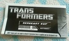 Transformers GENERATIONS SERGEANT KUP INSTRUCTION BOOKLET ONLY AUTHENTIC