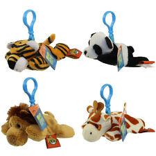 Adventure Planet Plush Mighty Clips -Set Of 4 Jungle / Safari Animals (Key Clips