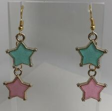 Baby Blue And Pink Cute Star Glitter Charms  Earrings Kitsch Fun 6.3Cm Long Twin
