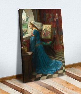 CANVAS WALL ART PAINTING PRINT BLUE  ARTWORK John W Waterhouse Fair Rosamund