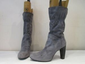 RUSSELL AND BROMLEY HAND MADE GREY SUEDE PULL ON BOOTS UK 6.5 EU 39.5  (3588)