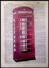 Britannica Red Telephone Box Vintage Stampa pagina dizionario WALL ART PICTURE TELEFONO