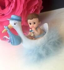1PC Baby Shower Boy Cake Topper Decorations Stork Animals Figurines Blue Favors