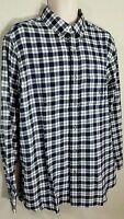 Chaps Classic Fit Plaid Flannel Button Down Shirt Navy White Long Sleeve L NWT