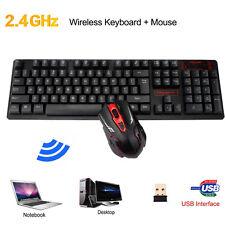 Ergonomic Backlit 2.4G Wireless Gaming Tastatur+ Funkmaus Maus Set Für PC Schw