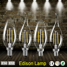 E12 E14 Filament LED Light Candle/Flame Bulb Wall Chandelier Lamps Replace 6A93