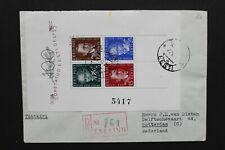 ESTONIA 1938 Reg. cover with miniature sheet Estonian writers to van Dieten!!