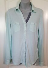 Women's Top Blouse Attention Aqua Blue/Green Button Front S Small L Large XL NWT