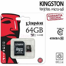 TARJETA DE MEMORIA MICROSD KINGSTON MICRO SD 64GB 45Mb/s 64 GB CLASE 10