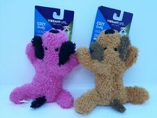 NEW Set of 2 Vibrant Life Cozy Buddy Dog Toy Squeaker Chew Level 1 Light