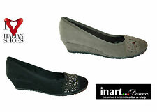 Ballet Flats Wedges Women's Shoes Suede Made IN Italynr 35-36-37-38-40