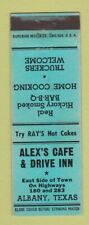 Matchbook Cover - Alex's Cafe Drive Inn Albany TX BBQ